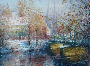 "OSTROW TUMSKI IN WINTER, PALETTE KNIFE OIL ON LINEN, 21.125""x28.25"""