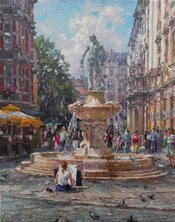 "FOUNTAIN WITH SWORDSMAN, PALETTE KNIFE OIL ON LINEN, 23.6""X18.9"""