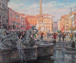 "PIAZZA NAVONA 2012, PALETTE KNIFE OIL ON LINEN,     19.7""X23.6"""