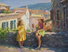 "HOLIDAYS IN PROVENCE, LA GARDE FREINET, PALETTE KNIFE OIL ON LINEN, 20""x26"""