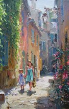 "PROVENCAL BACKSTREET – RAMATUELLE, PALETTE KNIFE OIL ON LINEN, 20""x13"""